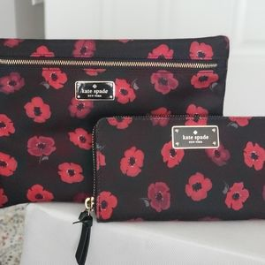 Kate Spade poppy seed wallet and make up bag